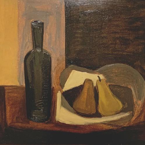 Nature morte aux poires (Fernand Toupin, huile sur masonite, 1953, don de Claudette et Guy Robert). Collection permanente du Musée d'art de Joliette
