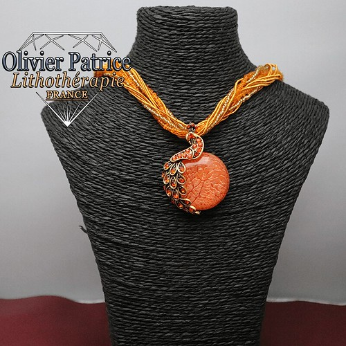 Pendentif opale de feu orange paon en alliage