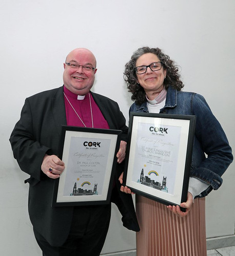 Bishop Paul Colton (individual award) and the Reverend Sarah Marry (award to St Anne's Church, Shandon) at the 'Allies for Inclusion' awards in Cork City Hall.  Picture: Jim Coughlan.