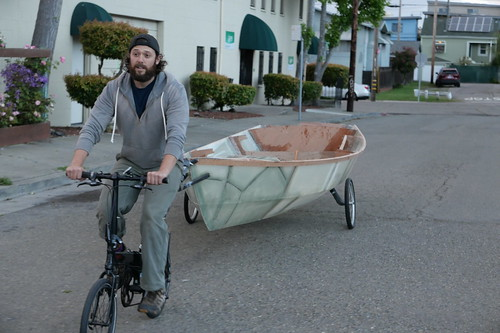 Wheels on this 3rd generator bike sailboat are no longer the widest point