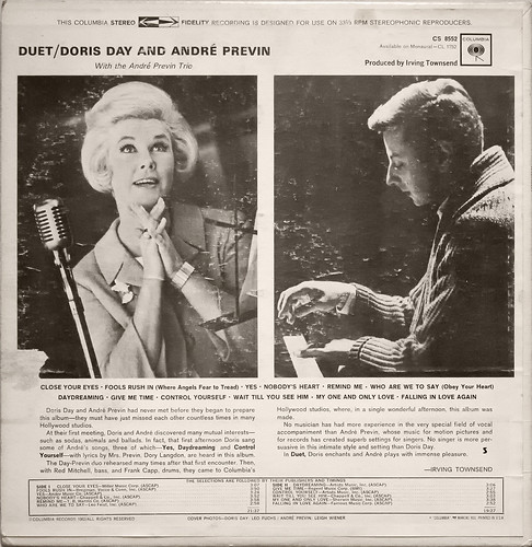 Duet – Doris Day And André Previn With The André Previn Trio (back cover)