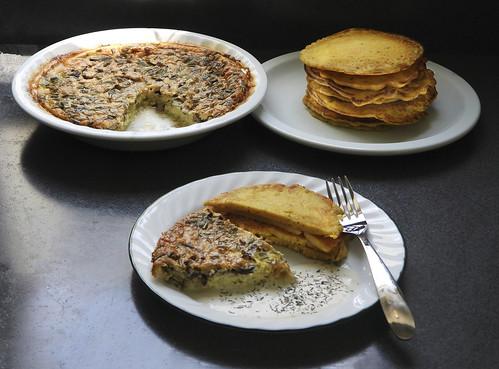 Mushroom & Goat Cheese Quiche With Chickpea Pancakes and Horseradish Sauce