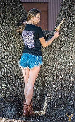 Sharp Carl Zeiss Sony Sonnar T* FE 55mm f/1.8 ZA Lens SEL55F18Z ! Pretty Green Eyes Athena! Beautiful Cowgirl Model Goddess Gold 45 Revolver Cowboy Boots Country Woman! Short Shorts Blue Jeans Cutoffs Daisy Dukes! Tan Cowboy Boots Gold 45 Revolver!