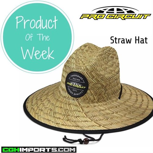 • P R O D U C T • O F • T H E • W E E K • Pro Circuit Straw Hat Size: One Size Hat Color: Natural straw Straw Hat Description: Days at the track can be brutal with the sun bashing down on you, so make sure you have the Pro Circuit Straw Hat handy to help