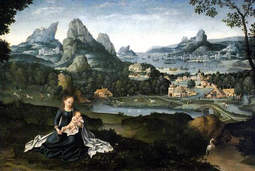 Joachim Patinir, Maria mit schlafendem Kind in einer Landschaft (Virgin and sleeping child in a landscape) Detail