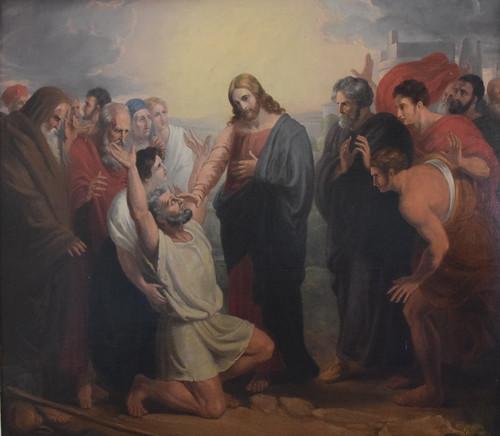 reredos: Christ heals a blind man (Benjamin West, 1838)