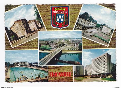 57 Thionville en 1966 Blason et 5 vues Piscine Tour aux Puces Résidence Cormontaigne HLM Péniche poissons