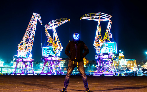 Me in my LED mask :) Behind me you can see szczecins crane called crane-zaurs #led #mask #crane #portrait