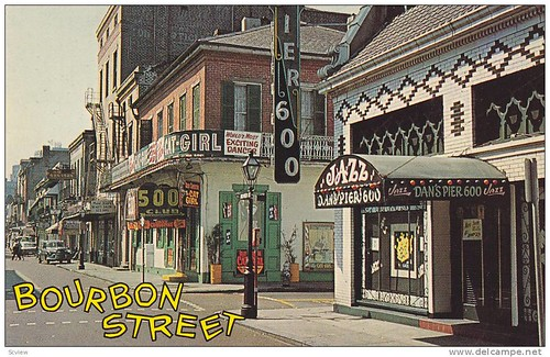 Bourbon Street, famous for the Dixieland Jazz, as well as night club entertainment, New Orleans, LouisianE