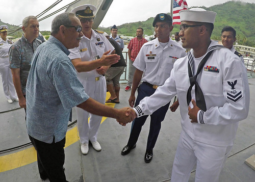 U.S. Sailors meet the President of the Federated States of Micronesia aboard the USNS Brunswick
