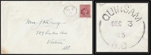 British Columbia / B.C. Postal History - 3 December 1946 - QUINSAM, B.C. (split ring / broken circle cancel / postmark) to Victoria, B.C.