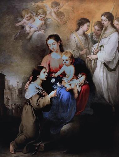 IMG_4620A Bartolomé Esteban Murillo 1617-1682 Sevilla La Vierge et l'Enfant avec Sainte Rose de Viterbe 1670 The Virgin  and Child with Saint Rose of Viterbo 1670 Madrid  Musée Thyssen Bornemisza