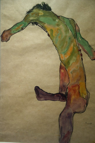 Egon Schiele 'Male Nude with Raised Leg, back view'