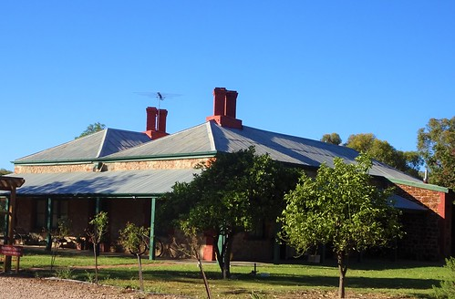Barunga Gap. Hummocks Station homestead. Built in local red ironstone in 1858. Purchased by Robert Barr Smith in 1869 who changed the name from Barunga homestead..Now a tourist attraction.
