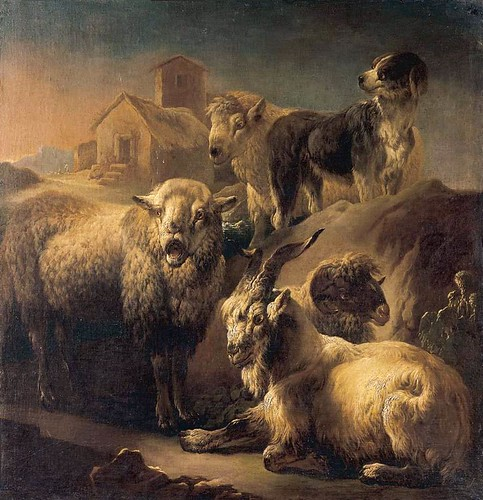 ROOS, Philipp Peter - A Goat, Sheep and a Dog Resting in a Landscape