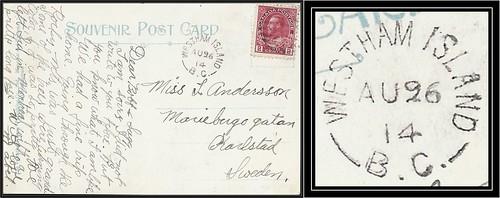 British Columbia / B.C. Postal History - 26 August 1914 - WESTHAM ISLAND, B.C. (split ring / broken circle cancel / postmark) to Karlstad, Sweden