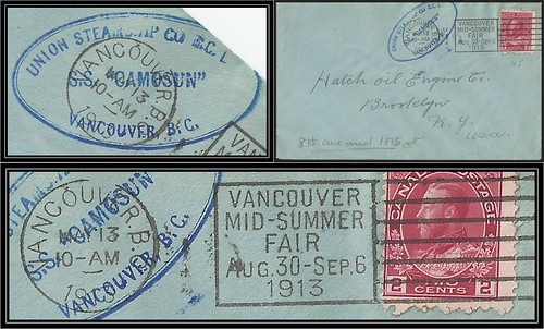 British Columbia / B.C. Postal History - 13 May 1913 - S. S. / Steamship Camosun (blue double ring oval marking) via Vancouver, B.C. (slogan cancel / postmark) to Brooklyn, New York / USA