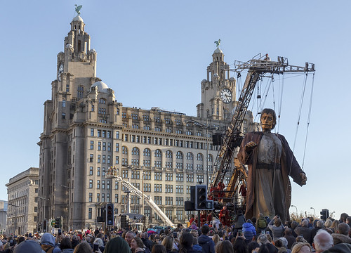 Shipwrecked Giant on New Quay, Pier Head, Liverpool, UK