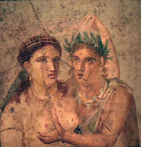 Satiro che abbraccia una Menade - Casa di Lucio Cecilio Giocondo Pompei - Gabinetto Segreto - Museo Archeologico Nazionale Napoli (MANN)