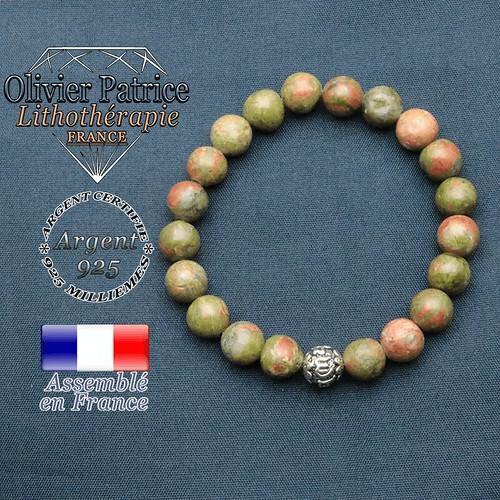 Bracelet unakite et symbole om mani en argent 925