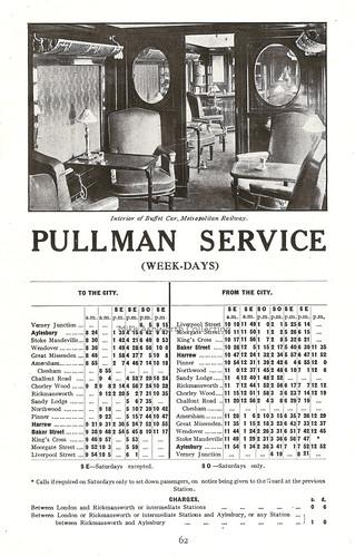 Metropolitan Railway, London - details of weekday Pullman car services, c1930