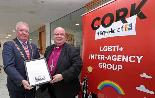 The Lord Mayor of Cork, Cllr Mick Finn, presented Bishop Paul Colton with an 'Allies for Inclusion' award. Picture: Jim Coughlan.