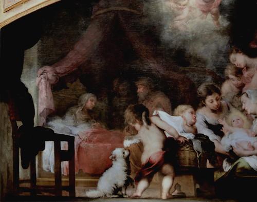 IMG_8510D Bartolome Esteban Murillo. 1618-1682. Séville   La Naissance  de la Vierge.    The Birth of the Virgin 1661.   Louvre