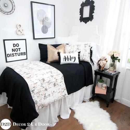 Carrara Marble Black & Rose Gold Dorm Bedding |Dorm Bedding Set | Twin XL Bedding Set | College Dorm Bedding | TXL Dorm Bedding