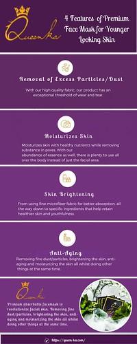 4 Features of Premium face mask - Queenka Infographic
