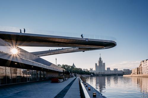 Floating Bridge over Moskva river at sunrise.