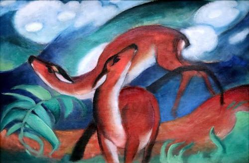 IMG_0554AG Franz Marc 1880-1916  Cerf rouge Rote Rehe II  Red deer II  1912 Munich Pinakothek der Moderne