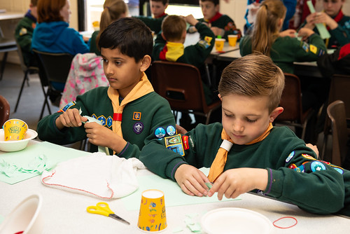 Scouts involved with art activities