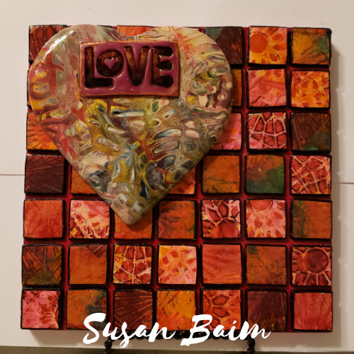 6x6-inch polymer clay mosaic made with premo, water colors, chalk pastels, stencils. Mokume gane heart.