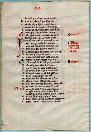 """MEDIEVAL POETRY.   A LEAF FROM A PETRUS RIGA """"AURORA"""".  Ref 564 recto"""