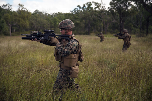 U.S. Marines move toward their objective during a squad attack during Exercise Southern Jackaroo