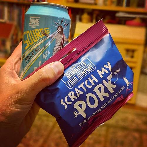 Tonight Matthew I will be sipping @lainebrewco source & nibbling @scratchmypork #saltandvinegar #porkscratchings. Lovely combination. _ #lainebrewco #laine #pork #skin #pigskin #porkscratching #porkcrackling #scratchings #crackling #seasonedporkrind #pork