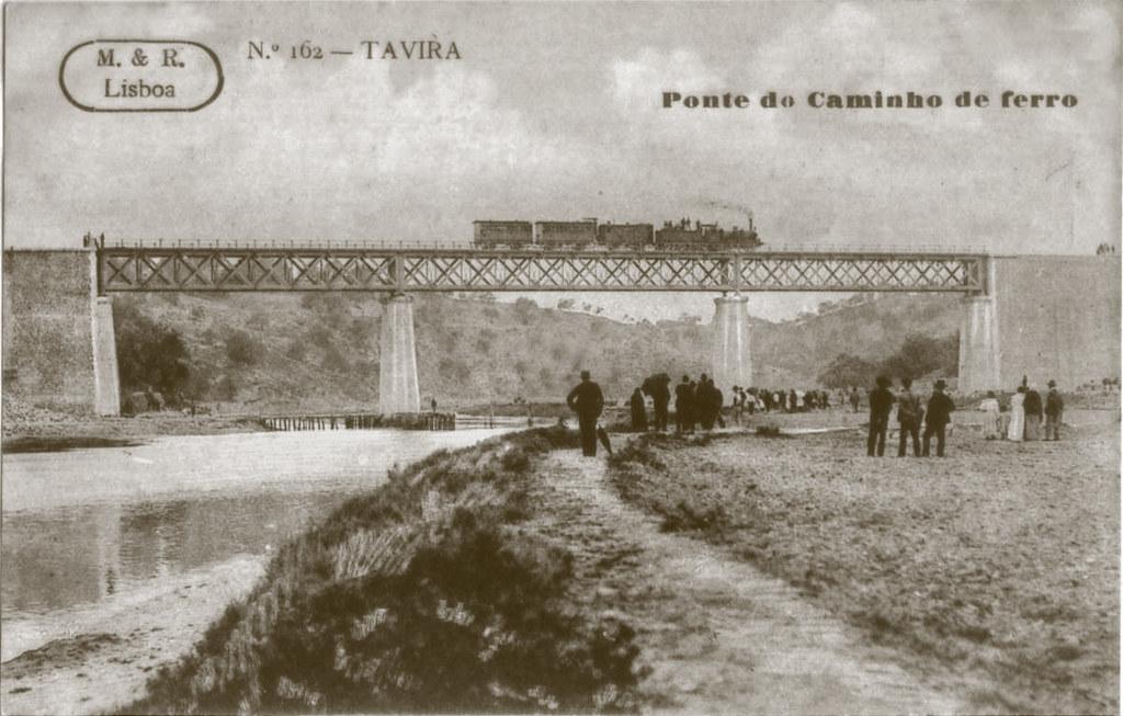 N.º 162 — Tavira. Ponte do Caminho de Ferro (Ed. A. & M., Lisboa, c. 1909)