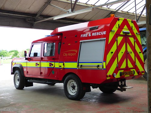Land Rover Defender WF04 XEG 2004 City Airport Barton EGCB Fire And Rescue
