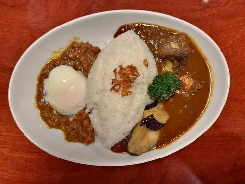 twin curry (keema, beef) and salad at tenma, nakano