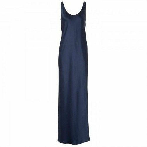 VINCE. Designer FULL Long SATEEN Maxi TANK Dress BLUE $345 Sz 4 - FREE SHIPPING