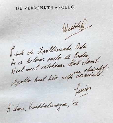 De verminkte Apollo, 1e druk. Gesigneerd door S. Vestdijk met opdracht