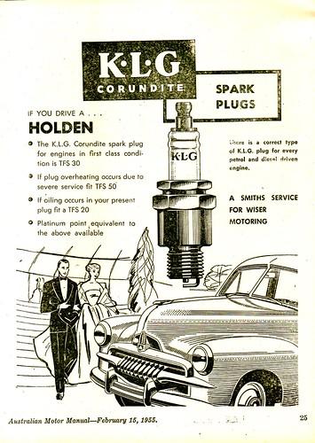 1955 KLG Corundite Spark Plags FJ Holden Sedan Aussie Original Magazine Advertisement