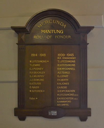 Mercunda and Mantung Roll of Honour World Wars One and Two, located in the Mantung Hall, Murray Mallee Lands South Australia