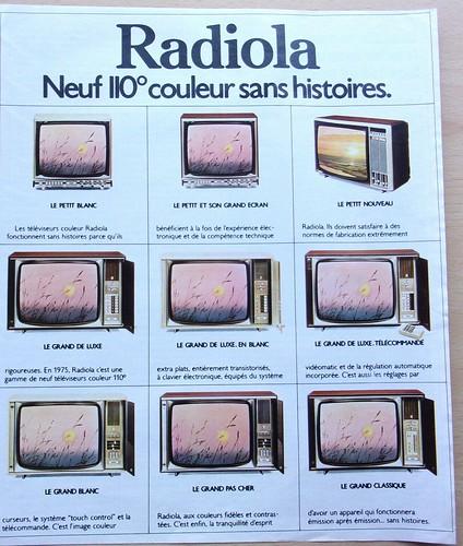 les 30 glorieuses . com & les TELEVISEURS RADIOLA en 1975
