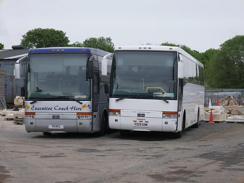KC Coaches of Carluke Volvo B10M-55 Van Hool Alizee T9 T9KCC alongside Volvo B10M-62 Van Hool Alizeee Y222GSM at Carluke on 25 May 2019.