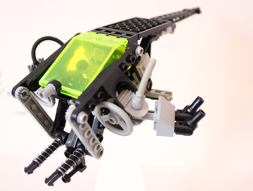 Lego Cyberpunk Police Trooper/Pilot In His Gunship In Pursuit Mode Skew View(Lego Ideas Project)