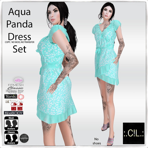 :.C!L.: Aqua Panda Assymetrical Summer Dress Set Poster