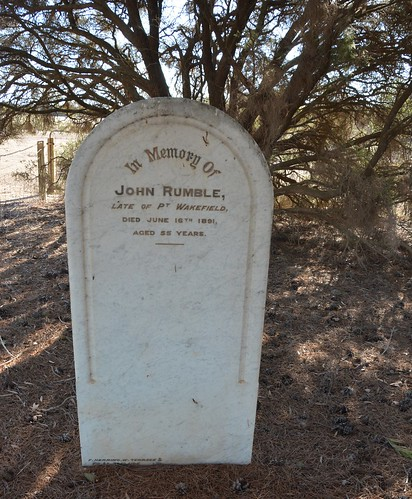 Clinton Centre. Headstone of John Rumble late of Port Wakefield, at the Methodist Cemetery South Australia