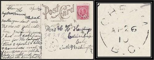 British Columbia / B.C. Postal History - 26 April 1910 - CHEAM, B.C. (split ring / broken circle cancel / postmark) to Columbia City, Seattle, Washington, USA