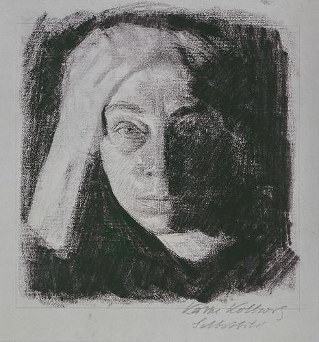 3. Käthe Kollwitz, Frontal Self-Portrait_0